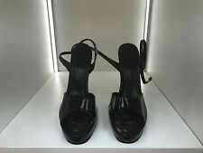 LSB leatherworks 16cm Sexy black patent platform 2cm sandals high heels uk10 43