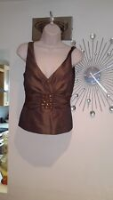 Women's NEXT Fitted Gold/Bronze Beaded Detail Evening Top  Size 10