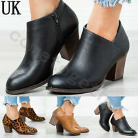 Womens Block Heels Zip Up Ankle Boots Ladies V-Cut Leopard Print Shoes Size 5-7