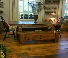 Rustic dining room set farmhouse reclaimed barn board finish table bench chairs