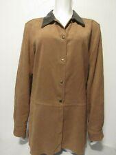 DIDIER PARAKIAN Shirt Jacket US 10 Brown Faux Suede Leather Collar LS Snaps
