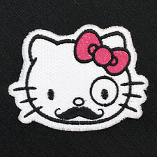 "Hello Kitty Cute Hipster Moustache Embroidered Iron-On Patch 3 3/4"" x 3"", New!"
