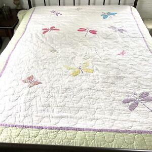 Twin Quilt Dragonflies Butterflies Purple Green Gingham Girls Bedroom