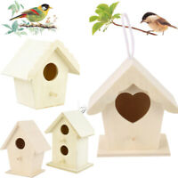 Traditional Hanging Bird Nesting Box Nest Boxes House Small Garden Birds Cute DF