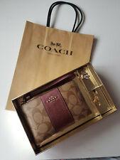 Coach Signature Corner Zip 2 Key Charms Strap Wristlet - Boxed & Gift Bag - NWT