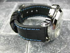 New BIG CROCO 24mm Black Grain LEATHER STRAP Blue Stitch Watch Band LA PAM
