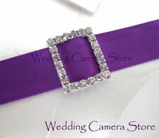 12 Rectangle Rhinestone Ribbon Buckles for Wedding Card