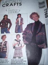 McCALL'S #7769- LADIES ( USE AN AFGHAN ) WRAP SKIRT-VEST & JACKET PATTERN 8-16FF