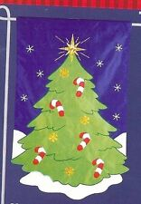 Glistening Christmas Tree Candy Canes Metallic Accent Applique Small Banner Flag
