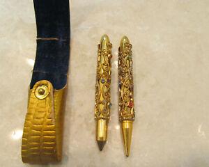 Vintage Ornate Gold Filigree  Miniature Pen Pencil Set In Case Rhinestones 1940