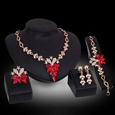 Women Gold Plated Crystal Necklace Ring Earrings Wedding Jewelry Set DH #U5