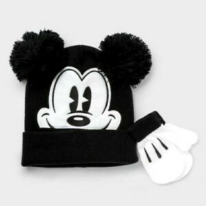 Disney Mickey Mouse Toddler Hat Cap and Mittens Gloves black/white