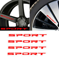 4x SPORT Style Car Door Rims Wheel Hub Racing Sticker Graphic Decal Vinyl Red
