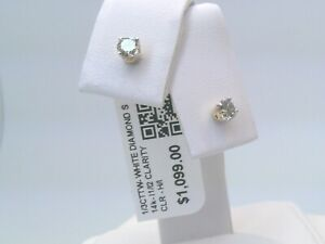 $1100 CERTIFIED 1/3CTTW CT REAL Diamond Stud Earrings 14k SOLID YELLOW Gold