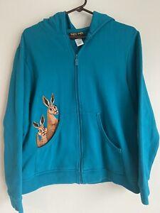 BOB MACKIE WEARABLE ART FULL ZIP HOODIE W/Embroidered Kangaroos SZ L Large Teal