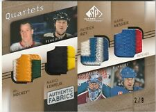 2008-09 UD SP Game Used quad Patch Howe Lemieux Roy Messier /9