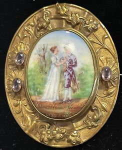 Amazing Antique Victorian Large Gold Filled Cameo Portrait Brooch