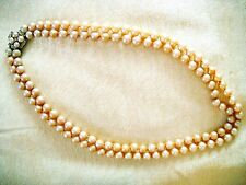 VINTAGE 2-STRAND FAUX PEARL NECKLACE W/ORNATE CLASP