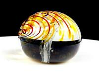 "STUDIO ART GLASS YELLOW SWIRL GEYSER CONTROLLED BUBBLE 2 1/4"" PAPERWEIGHT"