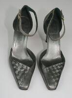 Bottega Veneta Gray Leather Woven Ankle Strap Stiletto Heels 7.5