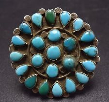 Vintage 1940s ZUNI Sterling Silver & TURQUOISE Petit Point Cluster RING size 9.5