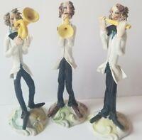 Vintage Handmade Stidio Art Porcelain Musician Figures Figurines Italy Lot of 3