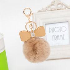Rabbit Fur Pom-pom Key Chain Bag Charm Fluffy Puff Ball Bow Key Ring Pendants