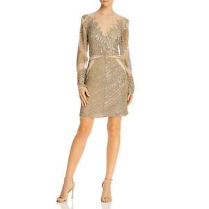 Aidan by Aidan Mattox Womens Gold Sheer Beaded Party Cocktail Dress 8 BHFO 3032