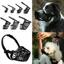 1x Dog Muzzle Basket Cage With Adjustable Straps For Pet Dogs Anti-biting Uk