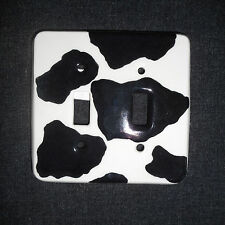 hand painted ceramic light switch cover B&W cow hide made in Nh Usa