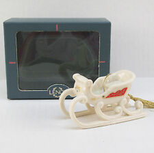 Lenox China 1990 Keepsakes Sleigh / Sled Xmas Tree Ornament 3D w/ Box Mint Mib