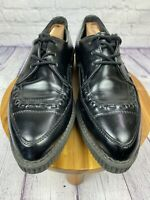 T.U.K. $95 Black Brogue Lace Up Platform Pointed Creepers Mens 12 Women 14 A8833