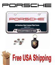 Porsche License Frame | Key Fob | Valve Stem Cap Gift Set PNA70400744