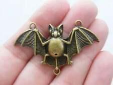 2 Bat connector charms antique bronze tone BC6