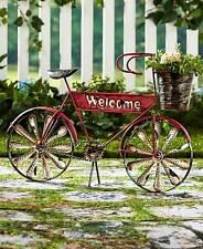 Welcome Bicycle Planter Porch Unique Garden Bike Plant Stand Rustic Flower Pot