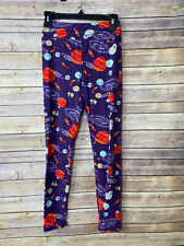 Vtg LuLaRoe OS Leggings One Size Planets Solar System Purple Galaxy Rockets