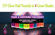 Ultra Bright Florescent Neon UV Glow Nail Varnish in 8 Great Colours VEGAN