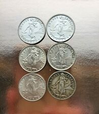 Lot of Six  Philippines 20 Centavo Silver Coins 1937 Scarce AU/BU Condition