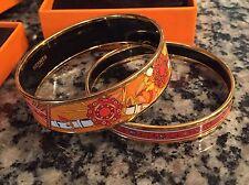 NIB Hermes enamel bracelets bangles GM 70 Festival des Amazones Gold Orange