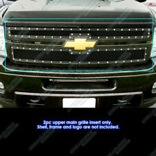 2011-2014 Chevy Silverado 2500HD/3500HD Black Rivet Studded Mesh Grille Grill