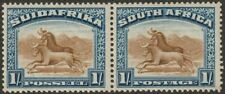 South Africa 1927 KGV Wildebeest 1sh Brown + Blue p14  Pair Mint SG36 cat £30