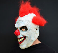 Creepy Evil Scary Halloween Clown Mask Rubber Latex RED HAIRED CLOWN