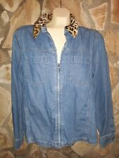 Women's Denim Shirt Sz L Jacket GLORIA VANDERBILT Zip Front Animal Print Collar