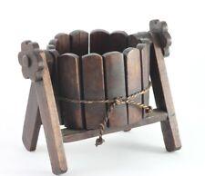 Wooden Flower Pot Planter Basket Handmade Vintage Style Teak Wood A-Frame Basket