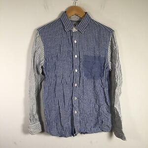 JW ANderson Uniqlo mens button up shirt size S blue striped linen cotton 38.0002