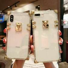 Crystal Clear Metallic Gold Square TPU Case for iPhone 11 Pro Max XR XS 78 Plus