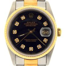 Mens Rolex Datejust 18K Yellow Gold Stainless Steel Oyster Diamond Black 16233
