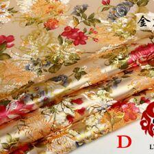Chinese Peony Satin Jacquard Brocade Flower Fabric Costume Upholstery By Metre
