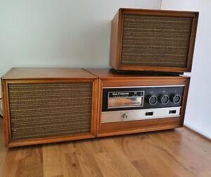 Vintage 1970's Radiomobile Stereo 8 Track Wooden Player - Made In Italy