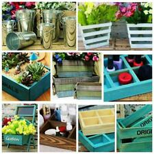 Tin Crates Planter Bucket Metal Distressed Herb Pot Flower Tray Baskets decor